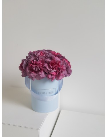 Lilac carnations in a box